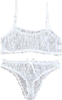طقم لانجري نسائي شبكي دوبي مثير حمالة صدر لباس داخلي وسيور داخلي (اللون: أبيض، المقاس: متوسط)