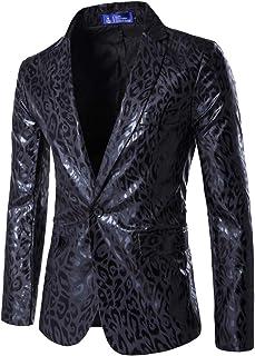 MISSMAO Mens Casual One Button Blazer Slim Fit Leopard Print Suit Jacket