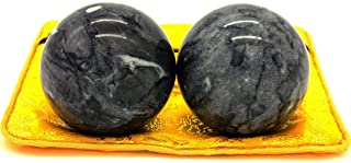 2'' Chinese Marble Dark Grey Baoding Balls Health Stress Relieve Hand Exercise