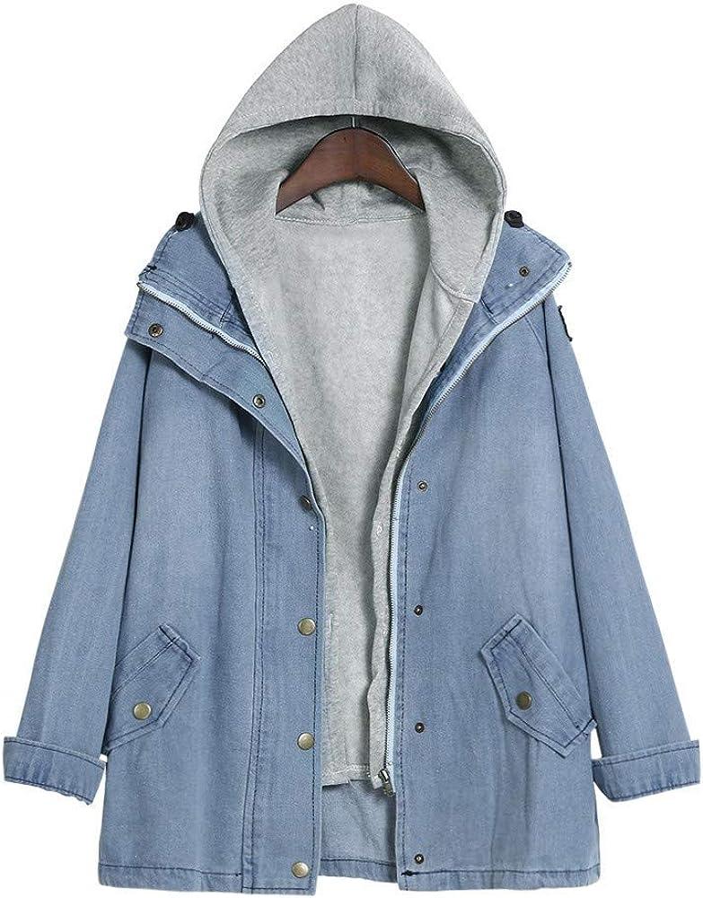 NREALY Jacket Women's Warm Collar Hooded Coat Jacket Denim Trench Parka Outwear