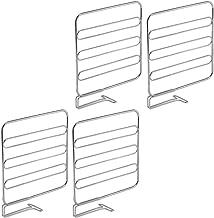 (Chrome) - mDesign Wire Shelf Divider, Closet Organiser for Clothing Storage - Pack of 4, Chrome