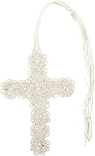 Pack of 6 Ivory Crocheted Cross Bookmarks with Tassel, 13 Inch