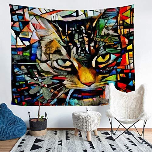 Colorido gato colgante de pared patrón de gatos tapiz para niños niñas niños gatito impresión manta de pared ultra suave decoración ropa de cama manta tema animal mediano 128 x 152 cm