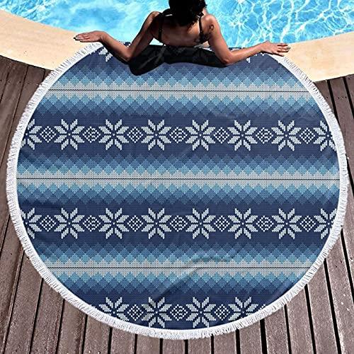 Tapiz redondo para playa, mantel hippy, toalla de playa, diseño tradicional escandinavo inspirado en copos de jacquard, escamas redondas para yoga, chal redondo