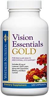 Dr. Whitaker's Vision Essentials Gold - Eye Health Supplement with 40 mg of Lutein Plus Vitamin A & Zeaxanthin - Supports Macular Health and Shields Eyes Against Blue Light Exposure (120 Capsules)
