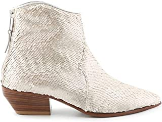 ELENA IACHI Women's E2058PWHITE White Sequins Ankle Boots