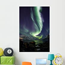 Wallmonkeys FOT-78387245-48 WM362471 Aurora Borealis Reflected Between Fjords in Tromso Peel and Stick Wall Decals (48 in ...