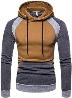 Men Color Block Long Sleeve Hooded Casual Hoodies Sweatshirt