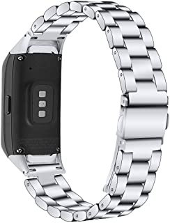 Compatible with Samsung Galaxy Fit SM-R370 Bands, Galaxy Fit Watch Band Solid Stainless Steel Metal Replacement Bracelet S...