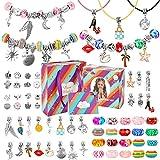 Ucradle Charm Armband Kit DIY für Mädchen - 70 Stück Schmuck Bastelset Mädchen, Armbänder Selber Machen Schmuckherstellung Bastelset mit Geschenkbox und Geschenkkarte, Mädchen Geschenke