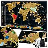 TooPopz Due Mappe Da Grattare XXL: Mappa Del Mondo Da Grattare 84x44cm + Mappa Europa Da Grattare 46x33cm | Cartina Geografica Design Italiano, Poster Planisfero Da Parete per Idee Regalo Viaggiatori