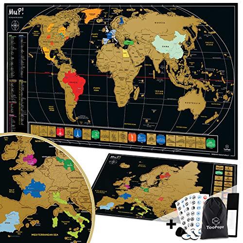 TooPopz® Due Mappe Da Grattare XXL: Mappa Del Mondo Da Grattare 84x44cm + Mappa Europa Da Grattare 46x33cm | Cartina Geografica Design Italiano, Poster Planisfero Da Parete per Idee Regalo Viaggiatori