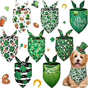 Weewooday 8 Pieces St. Patrick's Day Dog Bandana Clover Triangle Pet Bibs Green Irish Dog Scarf Shamrock Adjustable Pet Neckerchief for Pet Costume