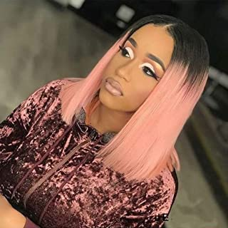 Short Ombre Pink Human Hair Bob Wigs Pink Lace Front Wigs with Baby Hair Middle Parting Glueless Wig Brazilian Virgin Pre Plucked Short Hairstyle Pink Lace Wigs 12 Inch