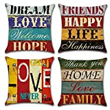Gspirit Funda Cojines Mediterráneo Amor Vendimia Tema 4 Pack Algodón Lino Decorativo Throw Pillow Case Funda Almohada 45x45cm