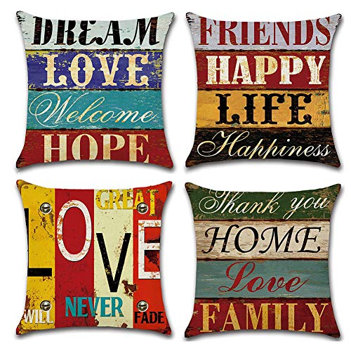 Freeas Pack of 4 Decorative Pillow Covers Love Life Pillowcases Solid Square Cushion Cover Cotton Linen Throw Pillow Covers Home Decor for Sofa Car Bedroom 18x18 Inch