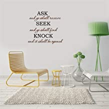 calona Wall Decorations for Living Room Sticker Quotes Ask and Ye Shall Receive Seek and Ye Shall Kind Knock and It Shall Be Opened for Kids Room Study Room Play Room