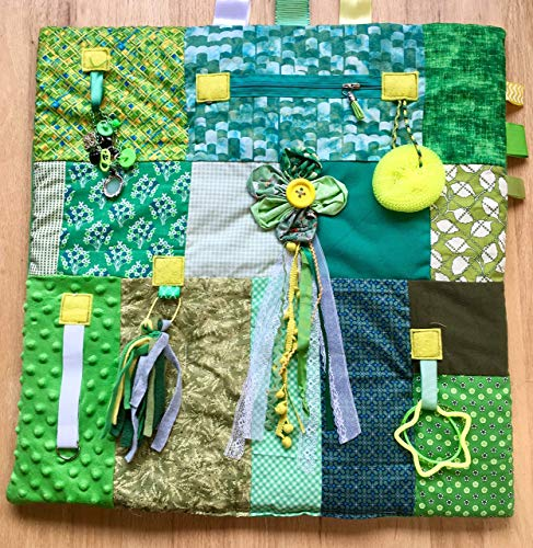 Fidget Blanket, Fidget Quilt, Alzheimer's Blanket, GREEN With ENVY by Restless Remedy
