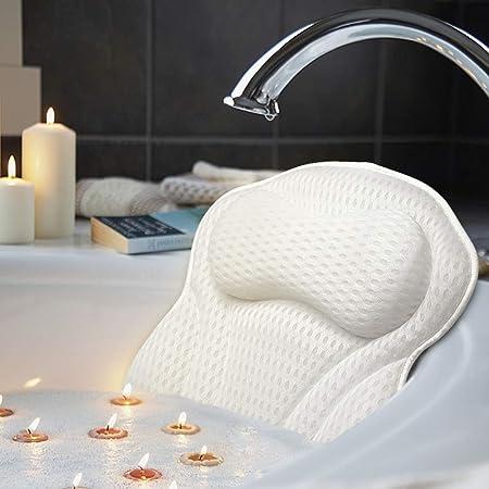 AmazeFan Cuscino per vasca da bagno di lusso, con tecnologia 4D Air Mesh e 6 ventose per supporto testa, schiena, spalle, collo, adatto per vasche da bagno, vasca idromassaggio e casa spa