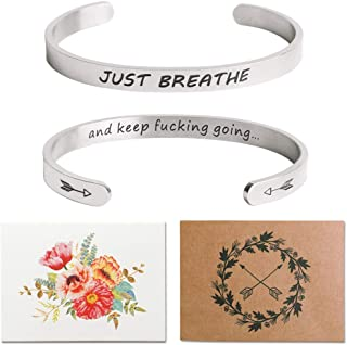 Inspirational Bracelets for Women Personalized Mantra Jewelry, Best Gift for Her Hidden Message Quote Engraved Cuff Bangle,Motivational Friendship Gifts for Him