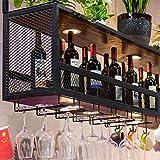 cyxb Supports à Vin Muraux,Porte-Bar à Bois Solide porté, Cabinet à vin de Bar, Porte-vin Rouge, Rack de Rangement Suspendu à la Tasse Haute-Le Noir_120 * 30 * 80