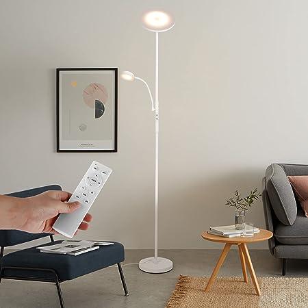 Albrillo 28W Lampadaire LED - Lampadaire Tactile Dimmable avec 5W Lampe de Lecture, Température de Couleur [3000K-6000K], Télécommande, 2200LM Lampadaire pour Salon, Chambre, Bureau, Blanc