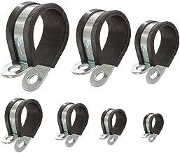 Abrazadera para tubo con perfil de goma P-clips recubiertos para asegurar tuberías cables mangueras: Ø 25mm / banda 12mm, 10 unidades