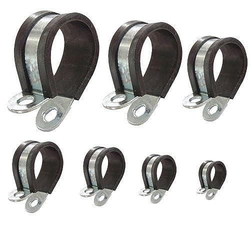 Colliers de fixation de tubes P-Clips de serrage avec insert en caoutchouc choix: Ø 20mm / Band 15mm, 2 Pièces