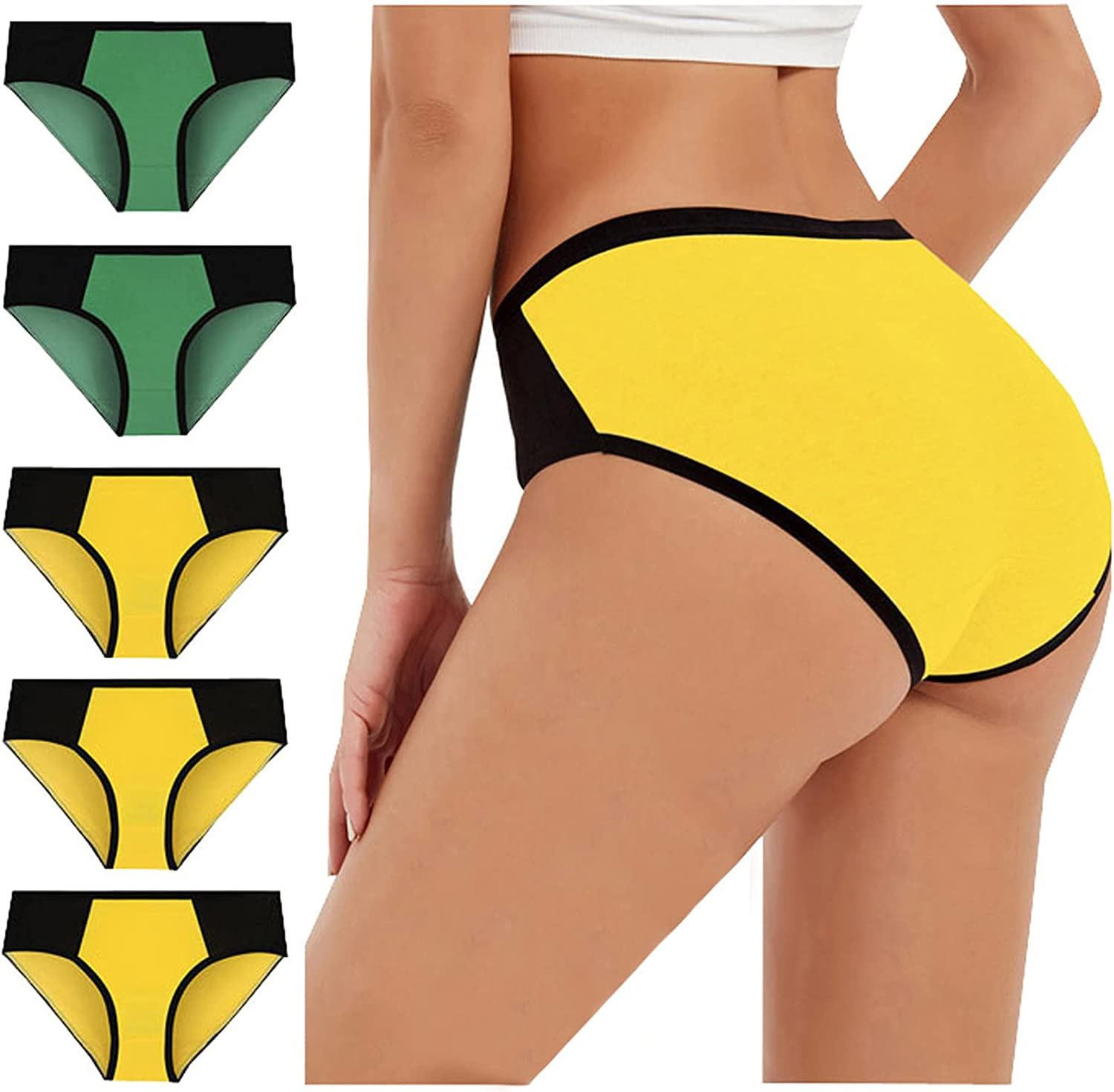 Sinzelimin 5-Pack Briefs for Womens Sexy Panties Mid-Waist Hip-Lifting Cotton Color-Block Underwear Bikini Underpants