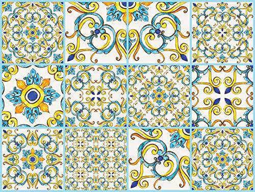 """The Nisha 24 PC """"Peel and Stick"""" Adesivo per Muri in Vinile Piastrella, Decals per la Cucina & Bagno in Stile Art Eclectic, Adesivi muro murali, 10x10 cm, Classico"""