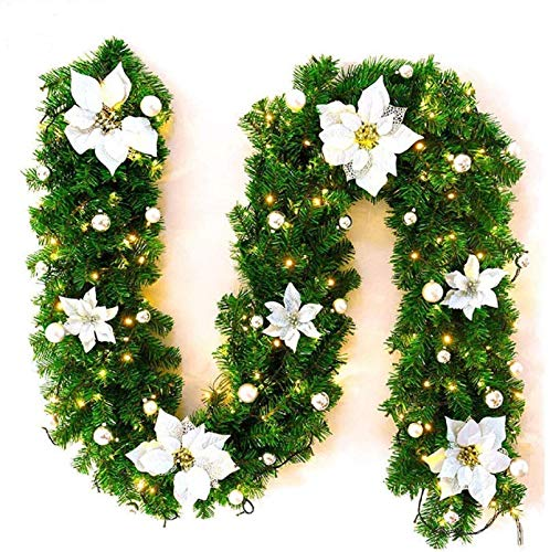 CJFHBVUQ Christmas Wreath, Door Wreaths Outdoor, Door Wreaths,2.7 m Pre-Lit Christmas Tree Decorated Garland with LED Lights,for Halloween/Thanksgiving/Christmas/Party/Festival etc Silver