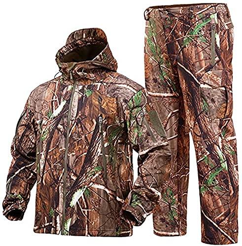 NXDRS, ropa de caza de piel de camuflaje para hombres, chaqueta y pantalones con capucha de camuflaje para caza, abrigo a prueba de viento (Tree Camo,XL)