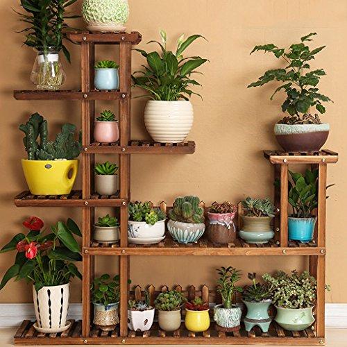CHX Étagère à fleurs en bois massif Multi-couche Type de plancher Simple balcon Salon Pot à fleurs
