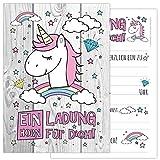 12-er Kartenset UNICORN mit einem niedlichen, süßen Einhorn, Regenbogen und Wolken - Kindergeburtstag-Einladungskarten für die Geburtstags-Party in rosa und zartem pastel, ideal für Mädchen