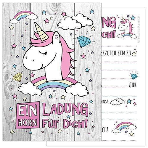 JamOnMedia 6-er Kartenset Unicorn mit einem niedlichen, süßen Einhorn, Regenbogen und Wolken - Kindergeburtstag-Einladungskarten für die Geburtstags-Party in rosa und zartem Pastel, ideal für Mädchen