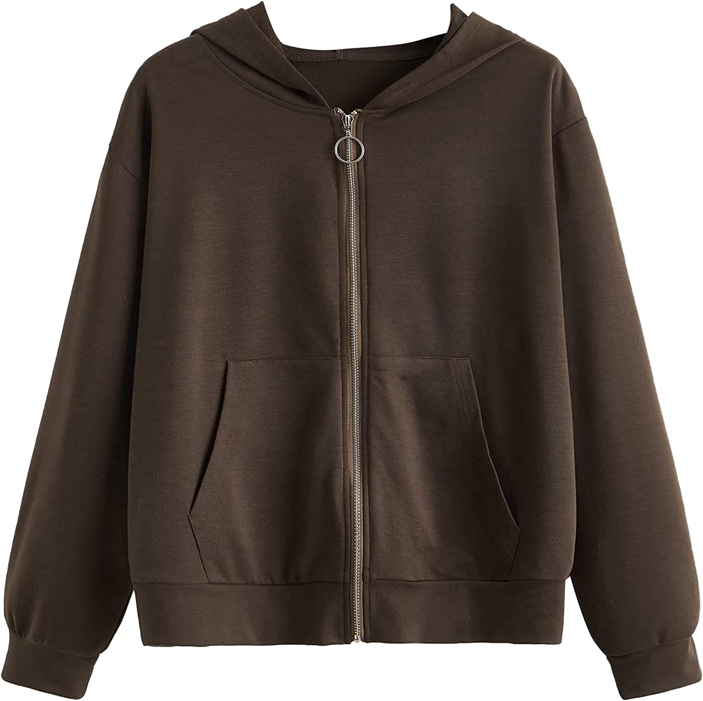 MakeMeChic Women's Plus Size Long Sleeve Zip Up Pocket Front Hooded Sweatshirt Jacket