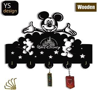 Mickey Mouse Key Hooks-Disney Cartoon Wall Hooks Heavy Duty 21LB(Max),Wall Décor,Wood Coat Hooks, Key Holder,Key Hanger for Wall、Entryway and Kitchen