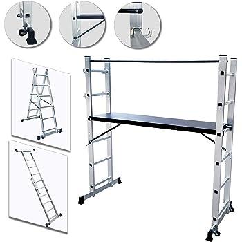 UISEBRT Andamio de Aluminio Multipropósito 3 en 1 - Escalera Plegable Aluminio - Máx. Carga de Capacidad de 150 kg: Amazon.es: Bricolaje y herramientas