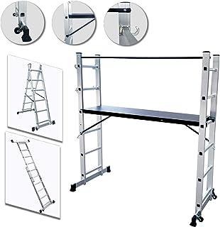UISEBRT Andamio de Aluminio Multipropósito 3 en 1 - Escalera Plegable Aluminio - Máx. Carga de Capacidad de 150 kg