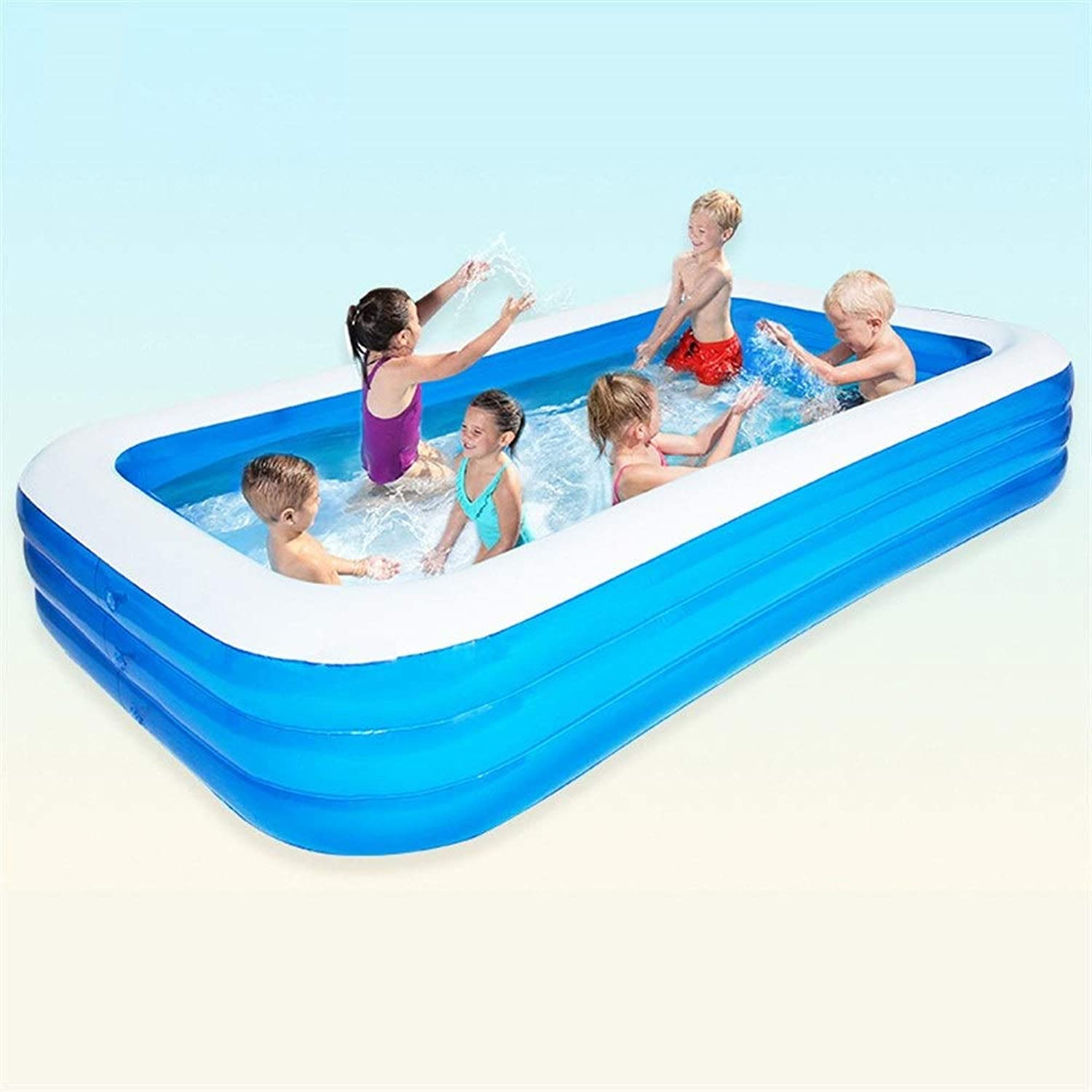 Inflatable Family Paddling Pool Large Family Fun Lounge Swimming Pool For Kids And Adults For Garden Parties bluee Multiple (Size   142.52  196.85  23.62in)