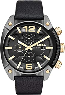 Men's DZ4375 Overflow Gunmetal Black Leather Watch
