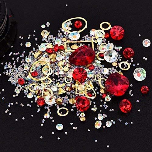 Pulabo 1 caja de uñas arte de diamantes de imitación con purpurina punk mixta 3D Consejos de uñas DIY decoración 01 adorable calidad y práctica fiable