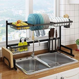 حامل لتجفيف الأطباق من الستانلس ستيل المقاوم للصدأ من ليكسادا مع لوح صرف وحامل لأدوات المطبخ, 85cm