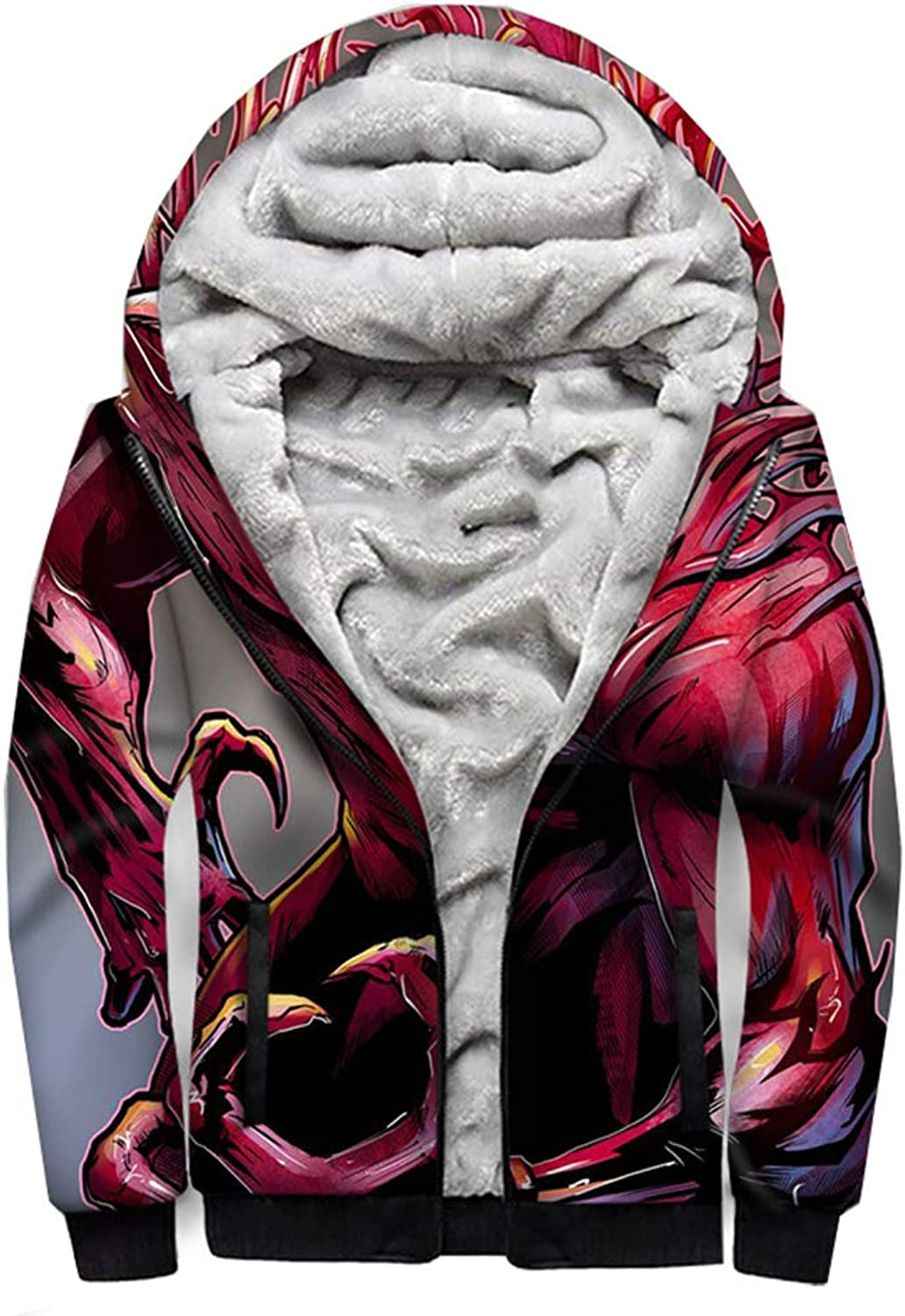 3D Hoodie Zipper Cardigan Hooded Sweater Super Hero Venom Flannel Thickening Sweatshirt Winter Warm