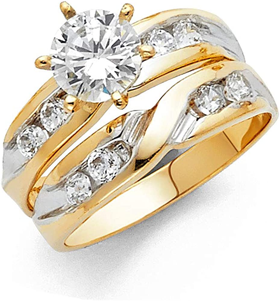 Wellingsale Ladies Solid 14k Two 2 Tone White and Yellow Gold Polished CZ Cubic Zirconia Round Cut Engagement Ring with Side Stones and Wedding Band Bridal Set