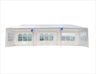 GOJOOASIS Wedding Party Tent 10x30 White Outdoor Canopy Tent Outdoor Gazebo (10` x 30` with 5 Walls)
