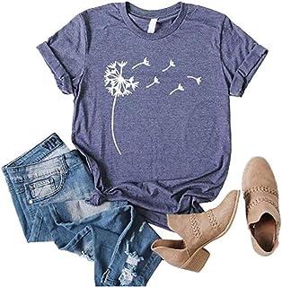 Sobrisah Women's Dandelion Shirts Summer Tops for Teen Girls Trendy Casual T-Shirt Graphic Tee S-2XL