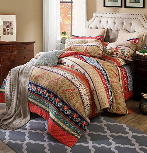Omelas Bohemian Queen Duvet Cover Set Colorful Boho Mandala Floral Bedding Set Super Soft Brushed Microfiber Indian Tribal Retro Duvets Cover Full Queen Vintage Taupe Red Brown (DL,Q,3pcs)
