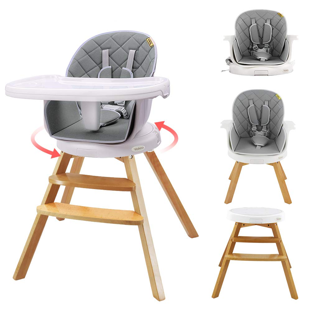 Grau Barhocker ab 6 Monaten bis Erwachsene Babystuhl Kombihochstuhl Kinderstuhl Sitzerh/öhung//Booster YOLEO 360 Grad drehbar Hochstuhl Holz Kinderhochstuhl 4 in 1 Mitwachsender Hochstuhl