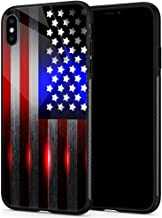 iPhone Xs Max Cases, Tempered Glass iPhone Xs Max Case Cutting Edge Laser Cut American Flag Pattern Design Black Cover Spo...